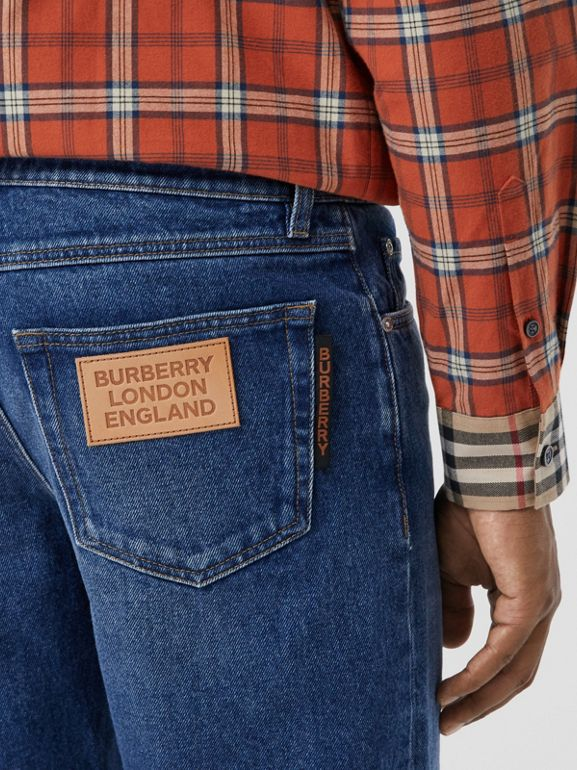 Straight Fit Indigo Jeans in Blue - Men | Burberry - cell image 1