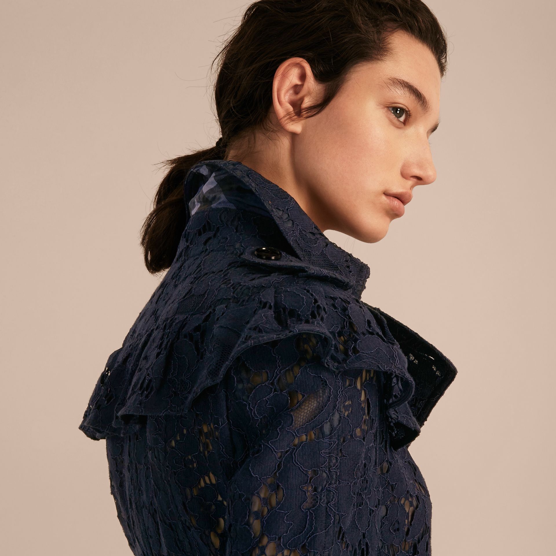 Ruffle Detail Macramé Lace Trench Coat Navy - gallery image 6