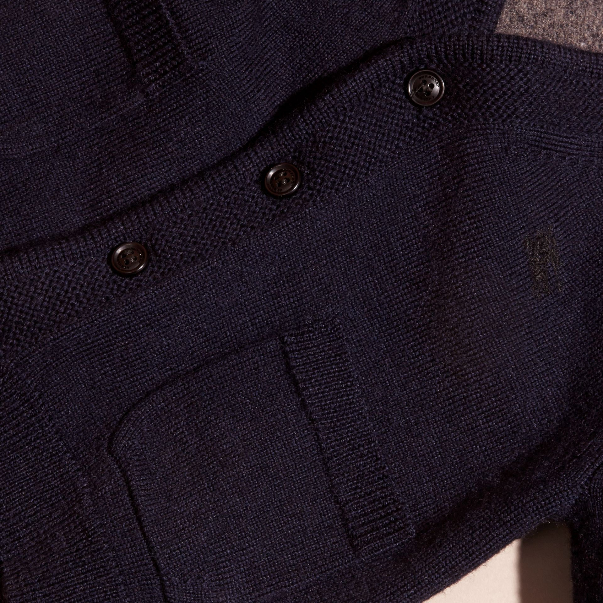Navy Check Detail Merino Wool Cardigan - gallery image 2