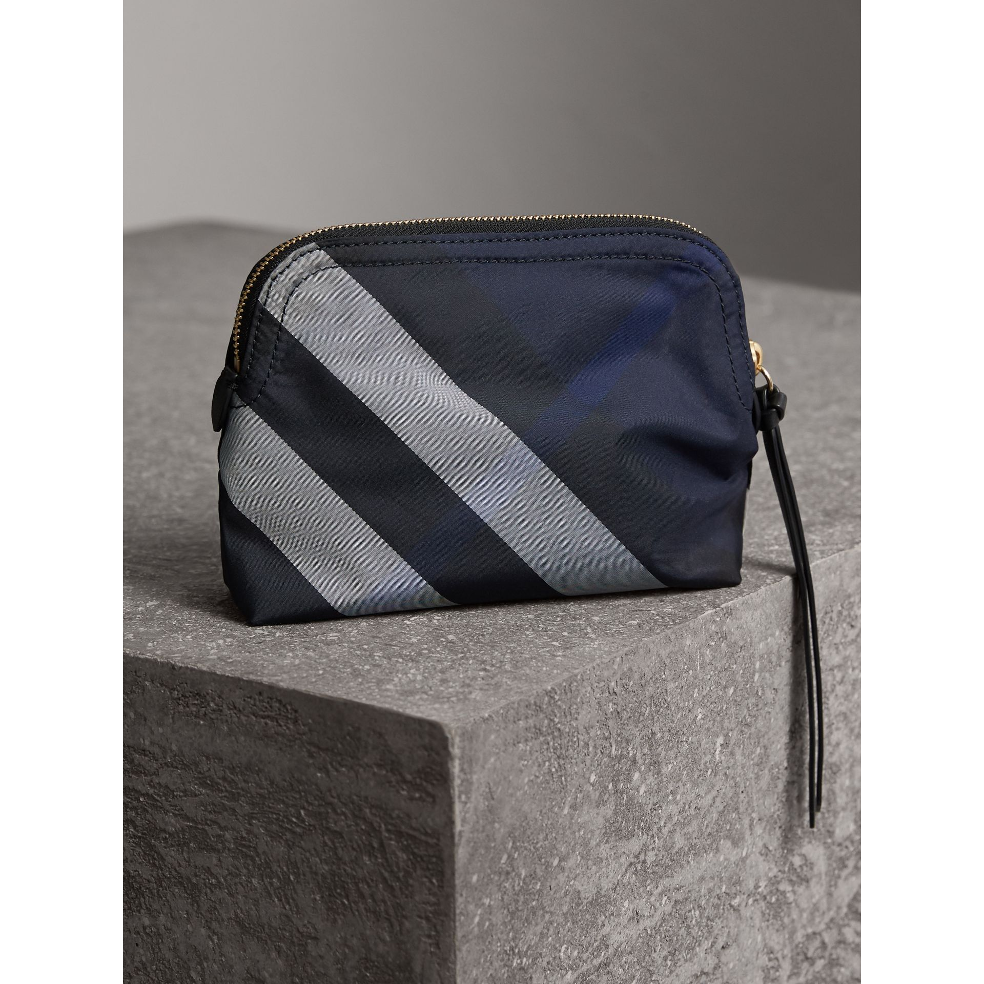 Medium Zip-top Check Technical Pouch in Indigo Blue - Women | Burberry United Kingdom - gallery image 3