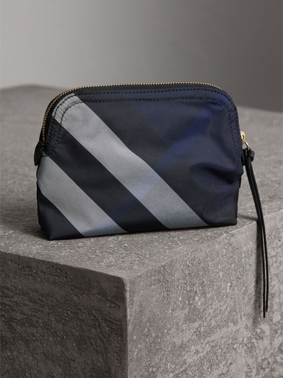 Medium Zip-top Check Technical Pouch in Indigo Blue - Women | Burberry United Kingdom - cell image 2