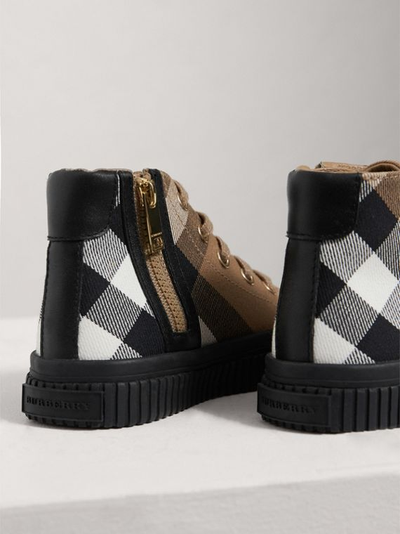 House Check and Leather High-top Trainers in Classic/black | Burberry - cell image 2