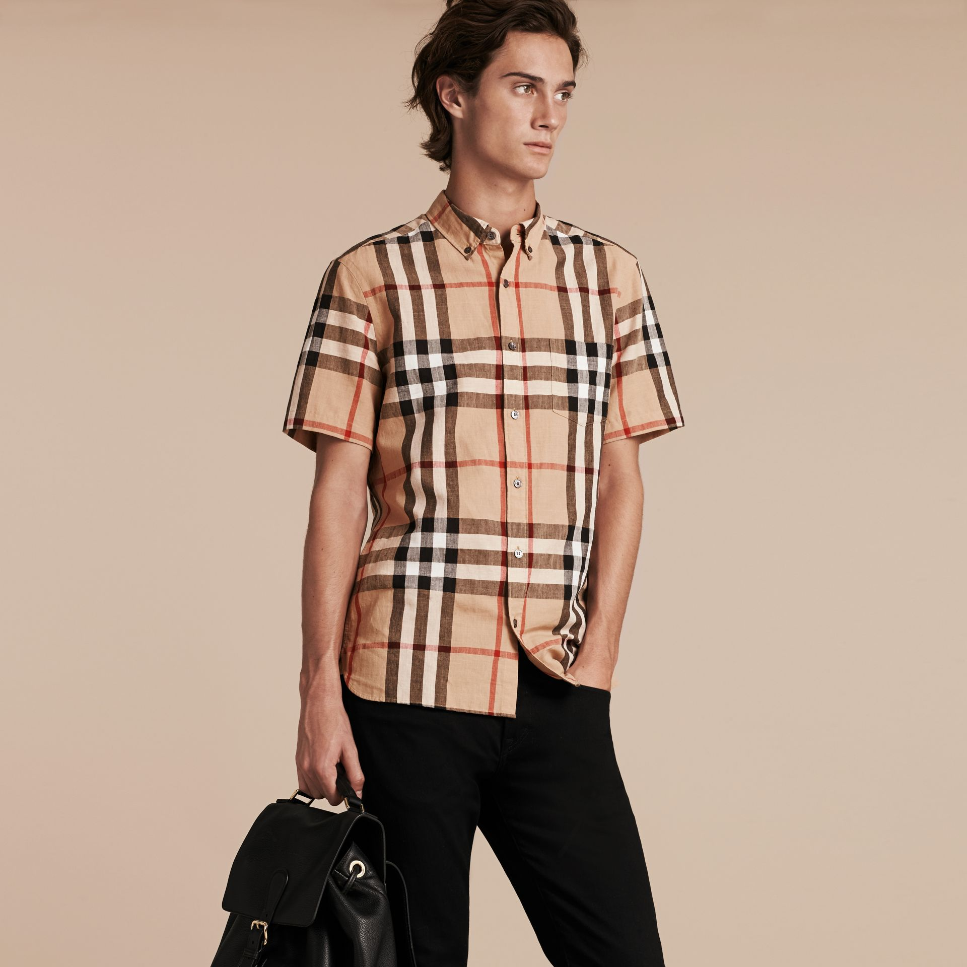 Short-sleeved Check Linen Cotton Shirt Camel - gallery image 4