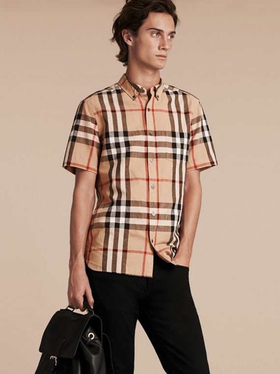 Short-sleeved Check Linen Cotton Shirt Camel - cell image 3