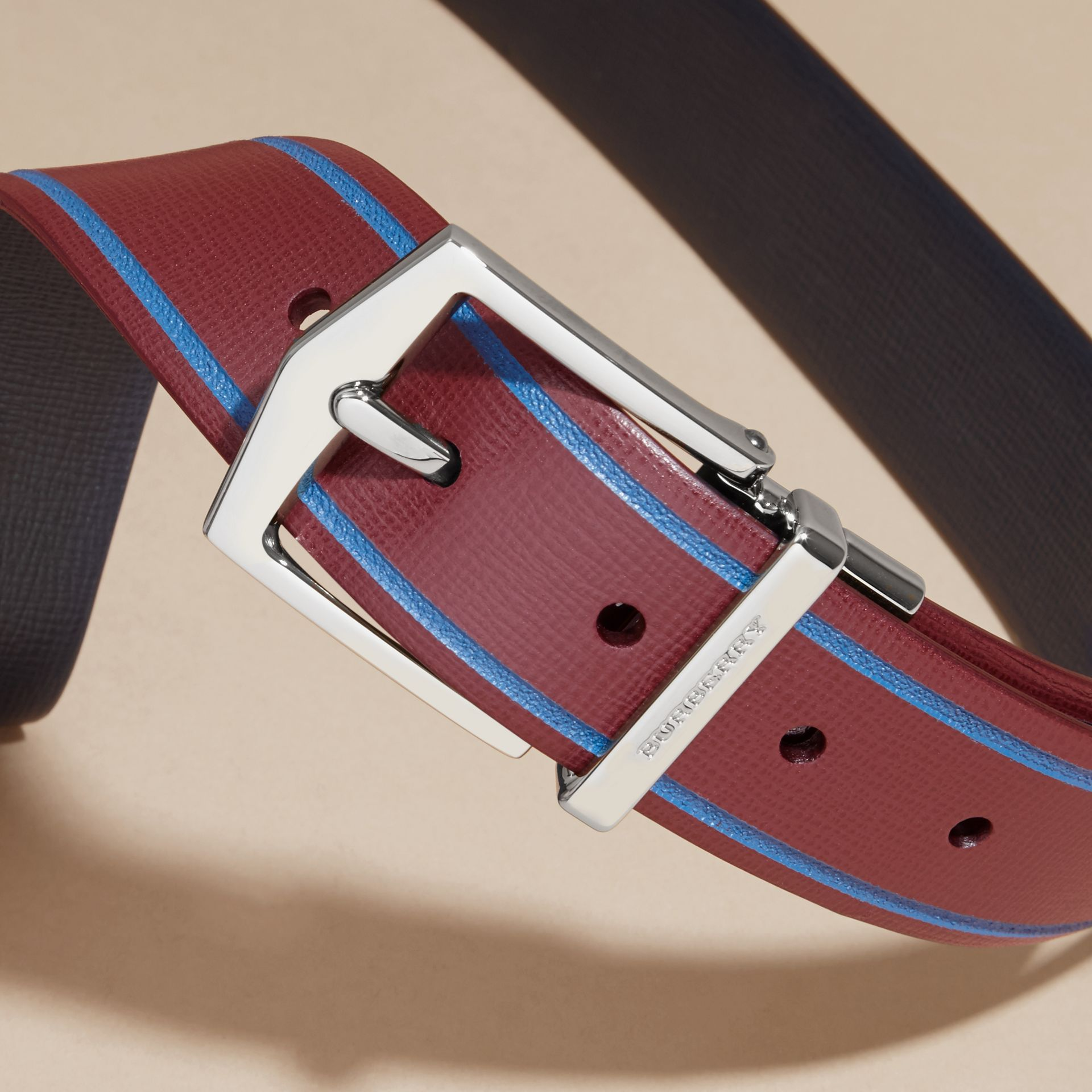 Burgundy red/dark navy Reversible Border Detail London Leather Belt Burgundy Red/dark Navy - gallery image 2