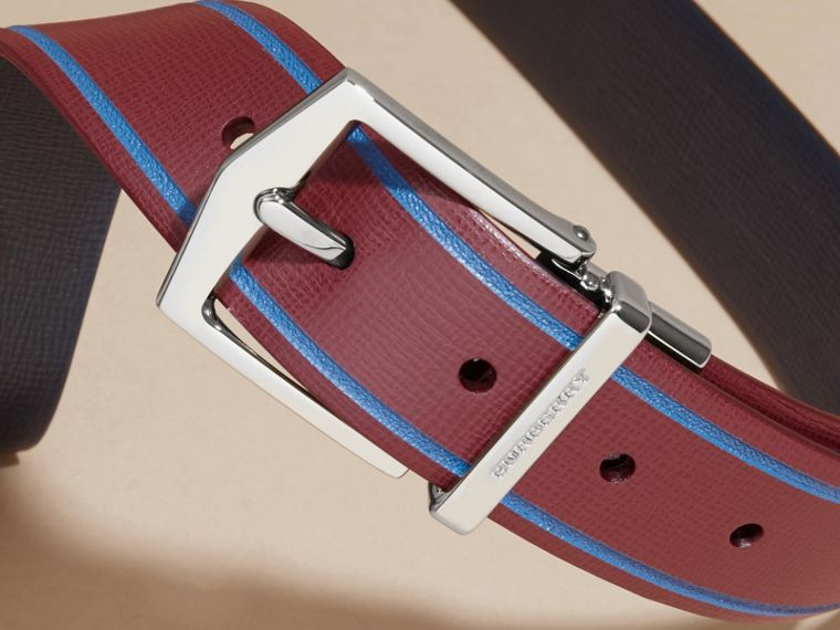 Reversible Border Detail London Leather Belt Burgundy Red/dark Navy - cell image 1