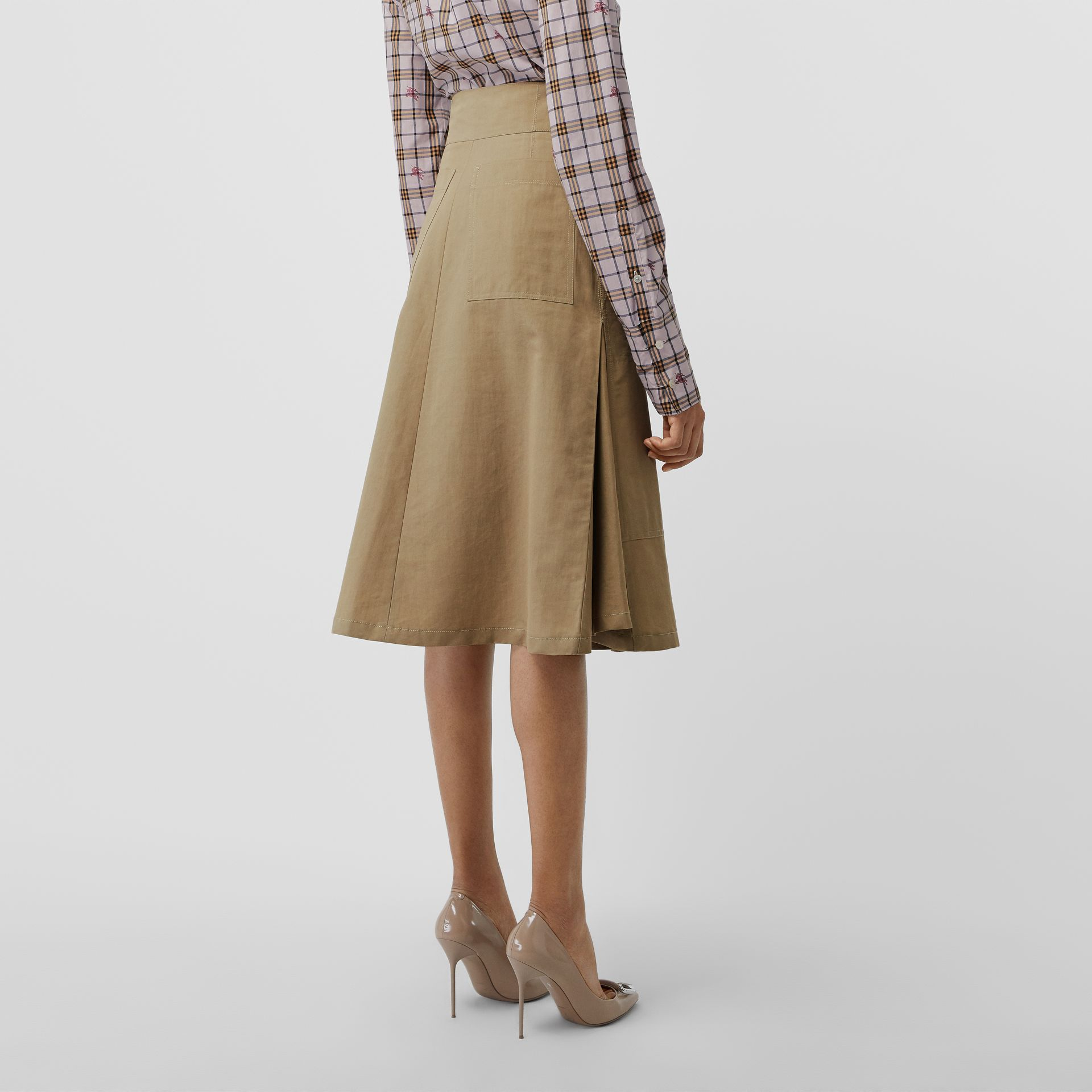 Cotton Silk High-waisted Skirt in Beige - Women | Burberry Singapore - gallery image 2