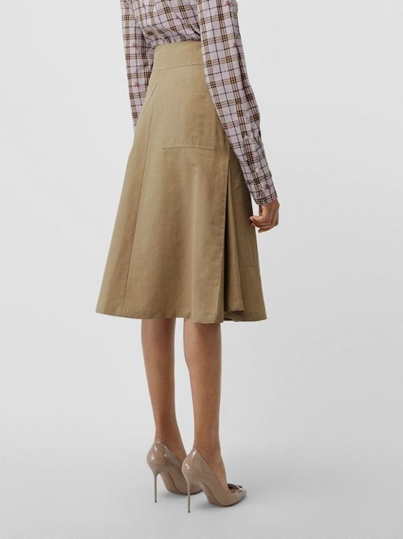Cotton Silk High-waisted Skirt in Beige - Women | Burberry Canada - cell image 1