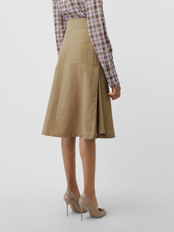 Cotton Silk High-waisted Skirt in Beige - Women | Burberry Singapore - cell image 2