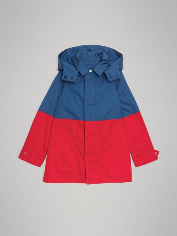 Detachable Hood Colour Block Cotton Car Coat in Dusty Blue