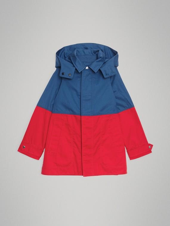 Car coat de algodão em colour block com capuz removível (Azul Terroso)