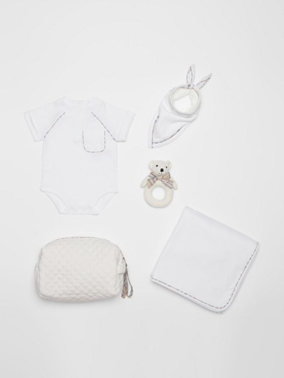 Check Detail Cotton Four-piece Baby Gift Set in White