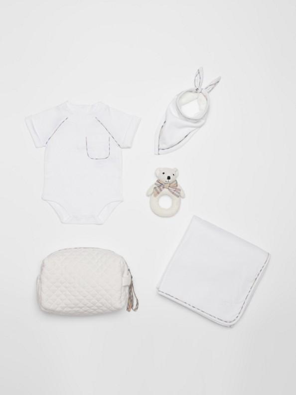 Coffret cadeau quatre pièces pour bébé en coton à motif check (Blanc)