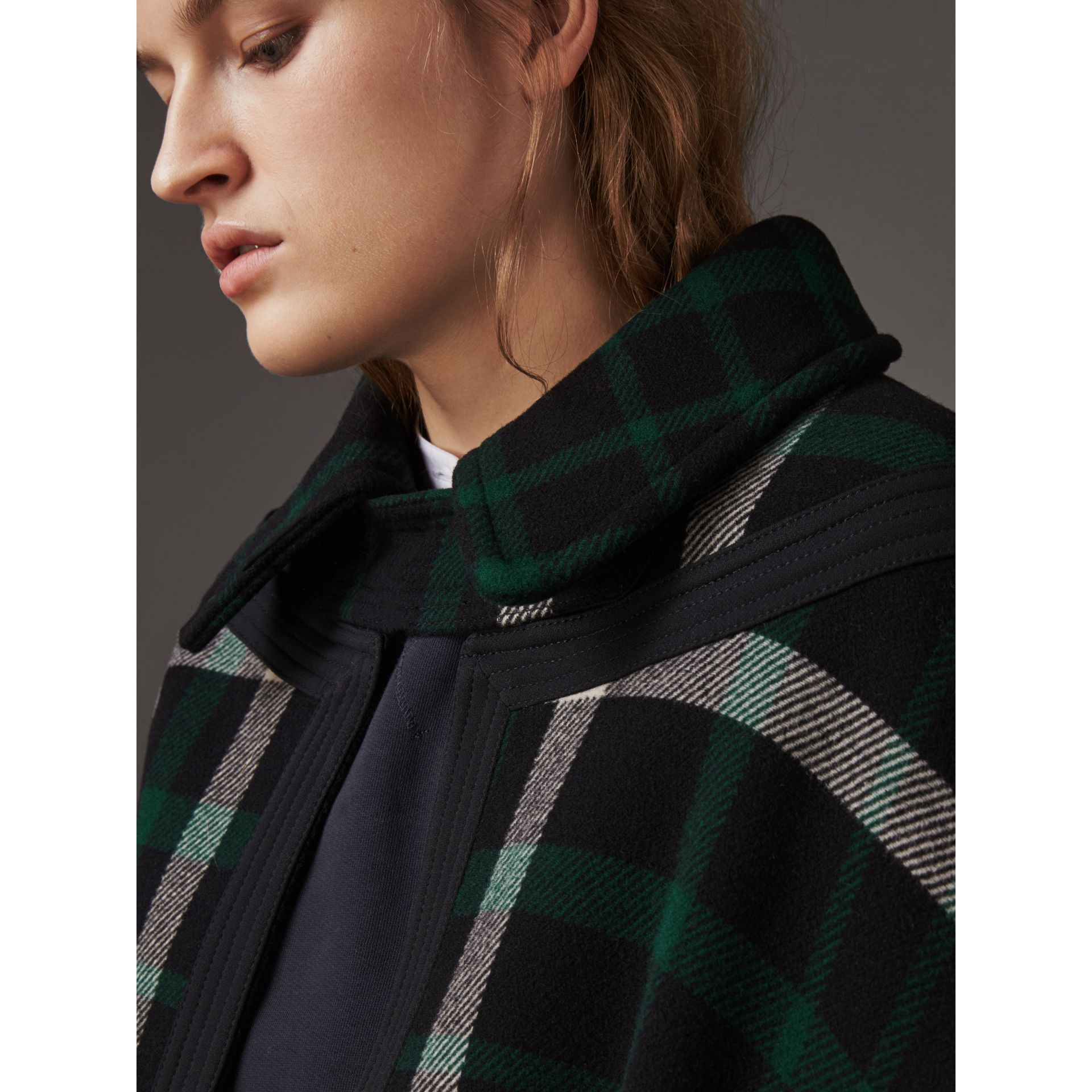 Exploded Tartan Wool Cape in Black/black - Women | Burberry - gallery image 2