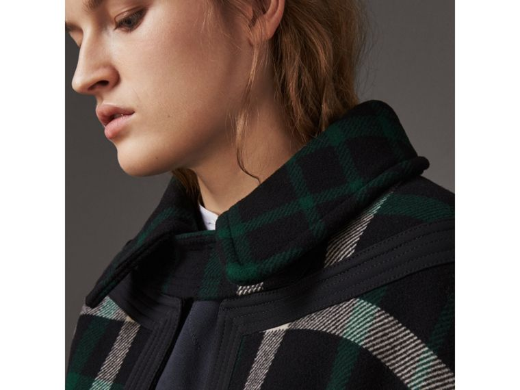 Exploded Tartan Wool Cape in Black/black - Women | Burberry - cell image 1