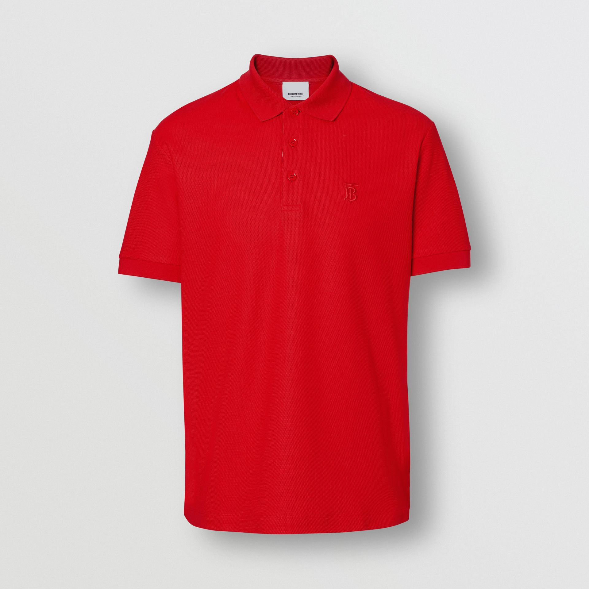 Monogram Motif Cotton Piqué Polo Shirt in Bright Red - Men | Burberry United Kingdom - gallery image 3