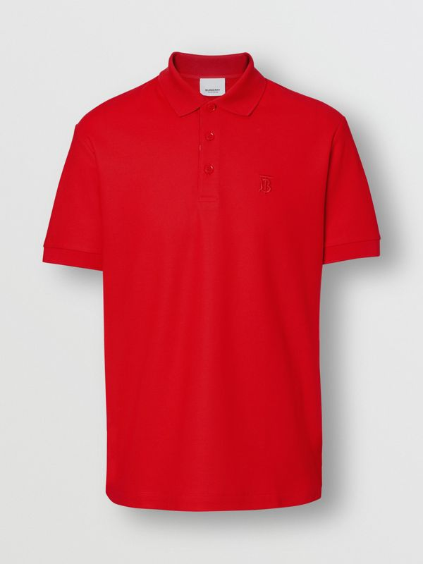 Monogram Motif Cotton Piqué Polo Shirt in Bright Red - Men | Burberry United Kingdom - cell image 3