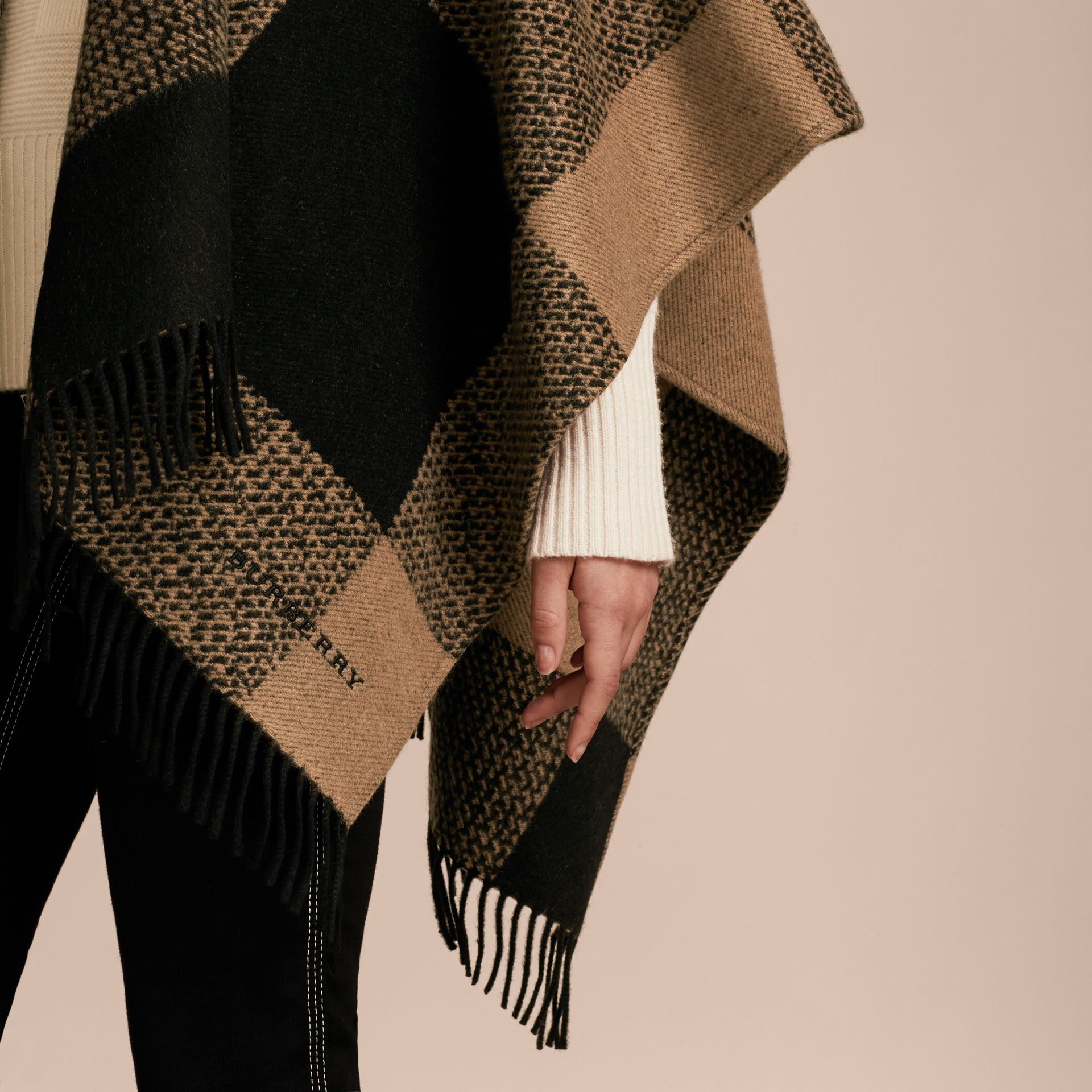 Camel Fur-trimmed Buffalo Check Wool Cashmere Poncho Camel - gallery image 6