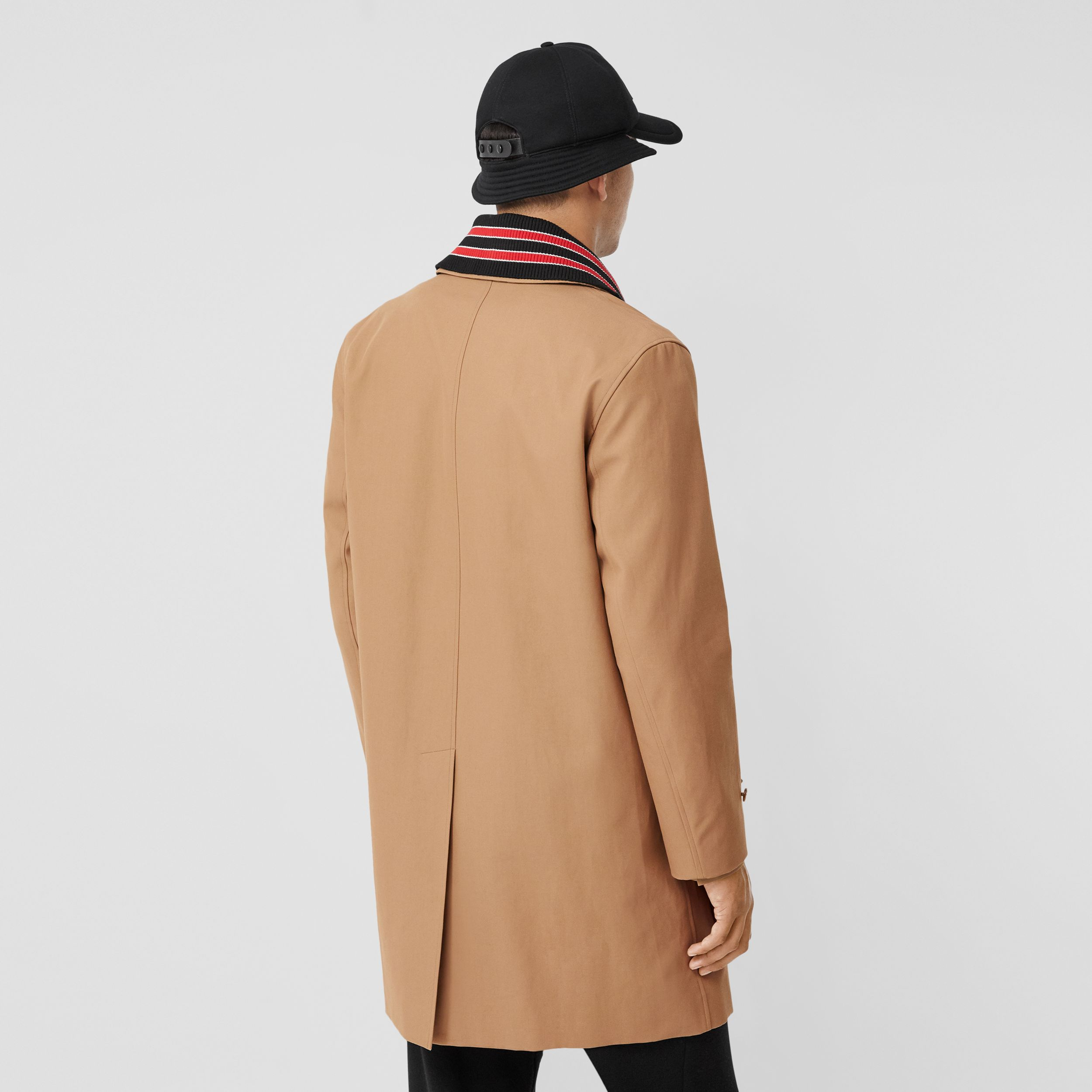 Detachable Striped Collar Cotton Car Coat in Warm Walnut - Men | Burberry - 3