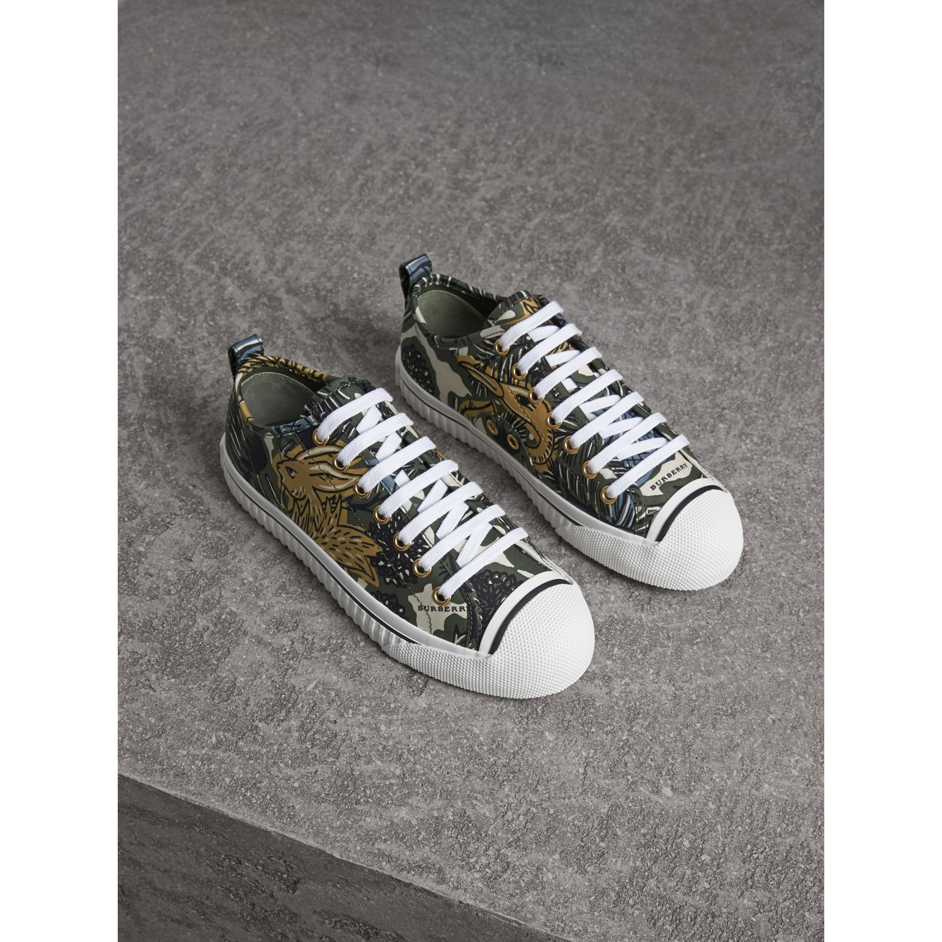 Beasts Print Cotton Blend Trainers in Clay Green - Women | Burberry - gallery image 1