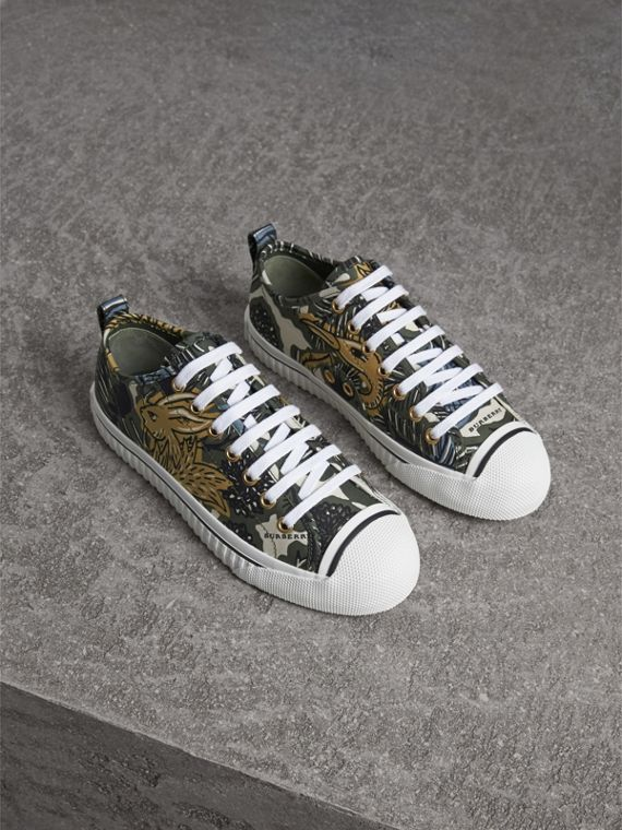 Beasts Print Cotton Blend Trainers - Women | Burberry Hong Kong