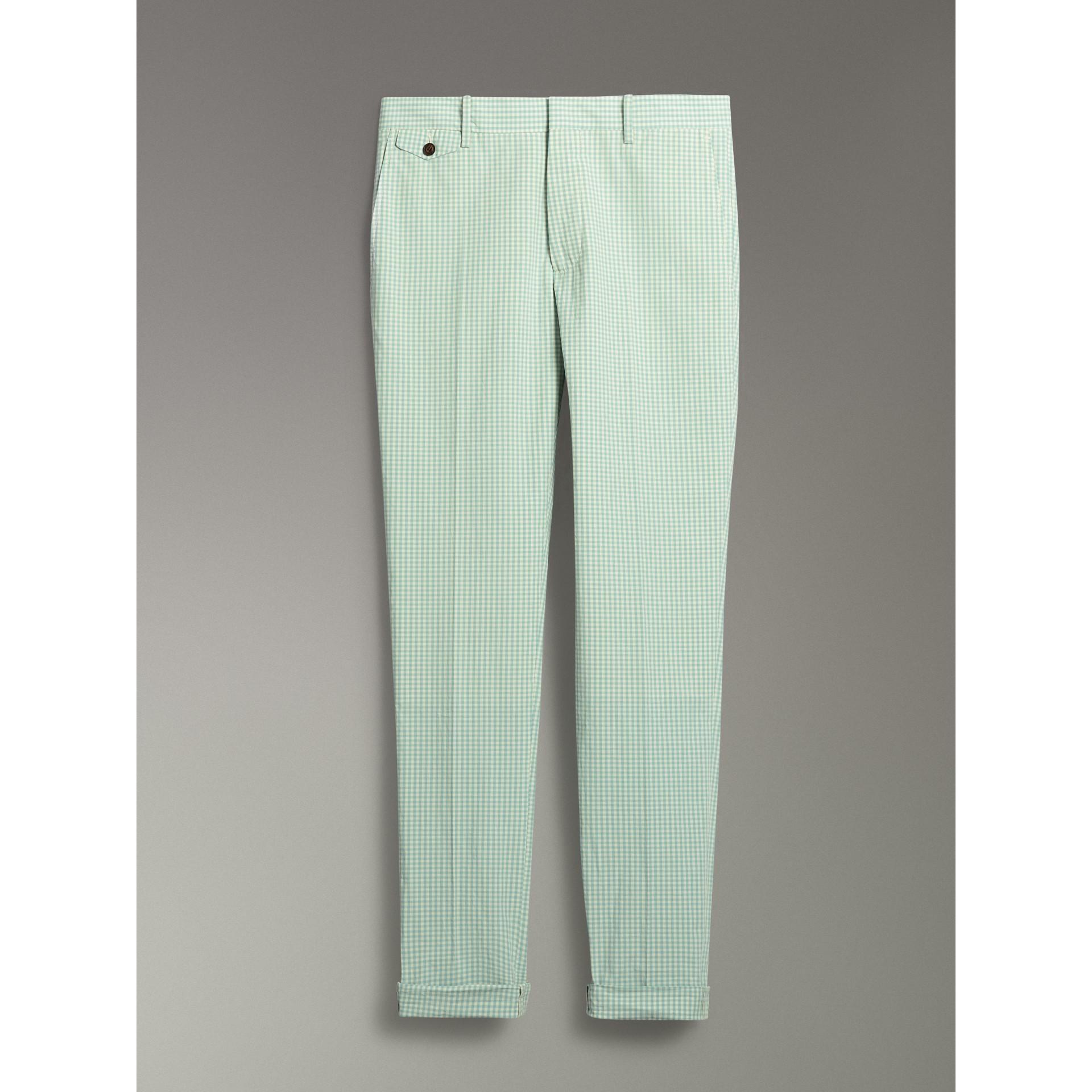 Pantalon ajusté en coton à motif vichy (Opale Pâle) - Homme | Burberry - photo de la galerie 3