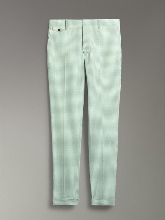 Pantalon ajusté en coton à motif vichy (Opale Pâle) - Homme | Burberry - cell image 3