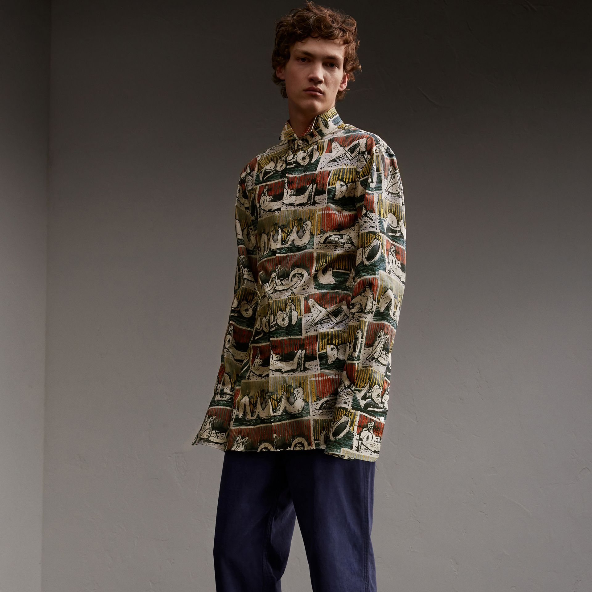 Reclining Figures Print Stretch Cotton Shirt - Men | Burberry Australia - gallery image 1