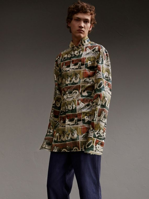 Reclining Figures Print Stretch Cotton Shirt with Wing Collar