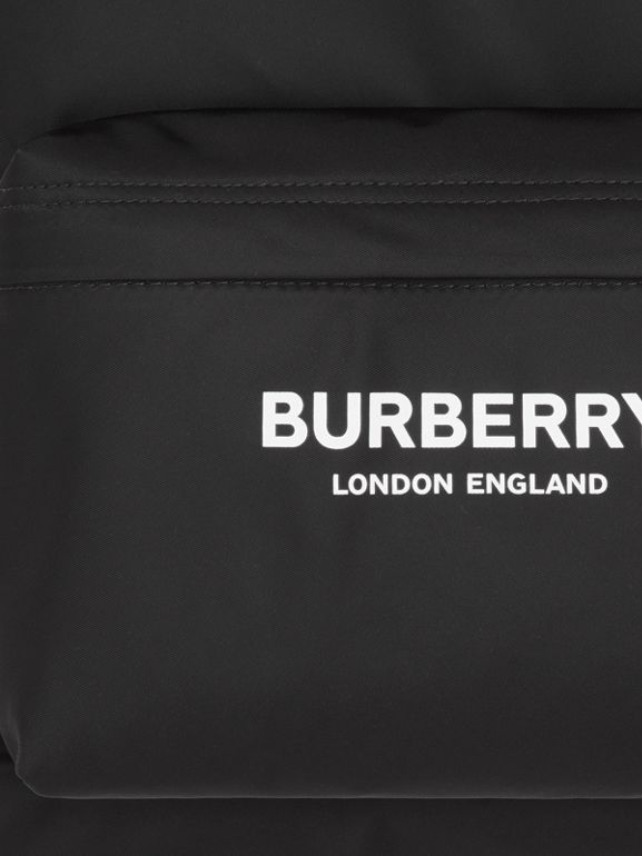 Logo Print ECONYL® Backpack in Black | Burberry - cell image 1