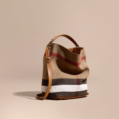 The Medium Ashby in Canvas Check and Leather Saddle Brown | Burberry
