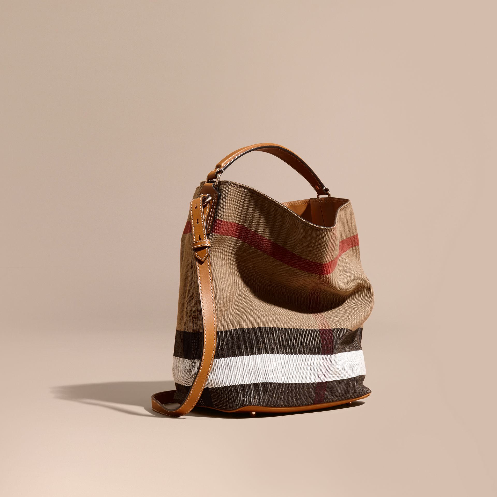 The Medium Ashby in Canvas Check and Leather in Saddle Brown - gallery image 1