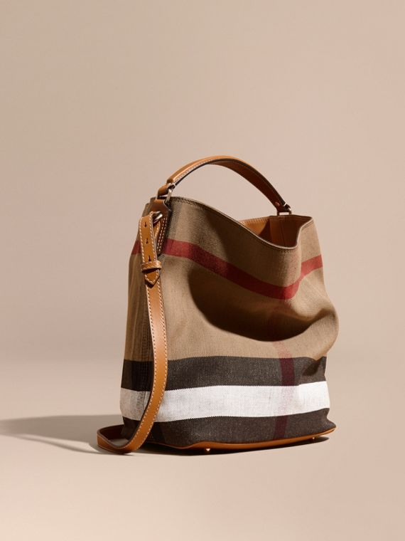 The Medium Ashby in Canvas Check and Leather in Saddle Brown