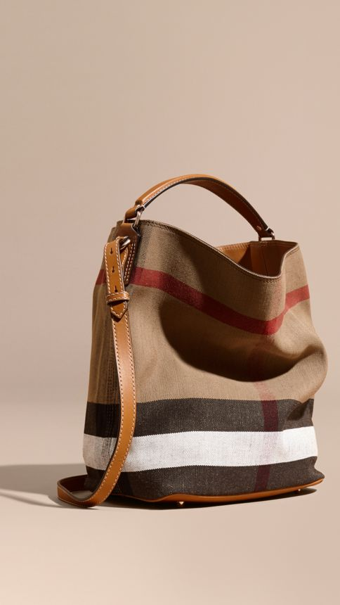 Saddle brown The Medium Ashby in Canvas Check and Leather Saddle Brown - Image 1