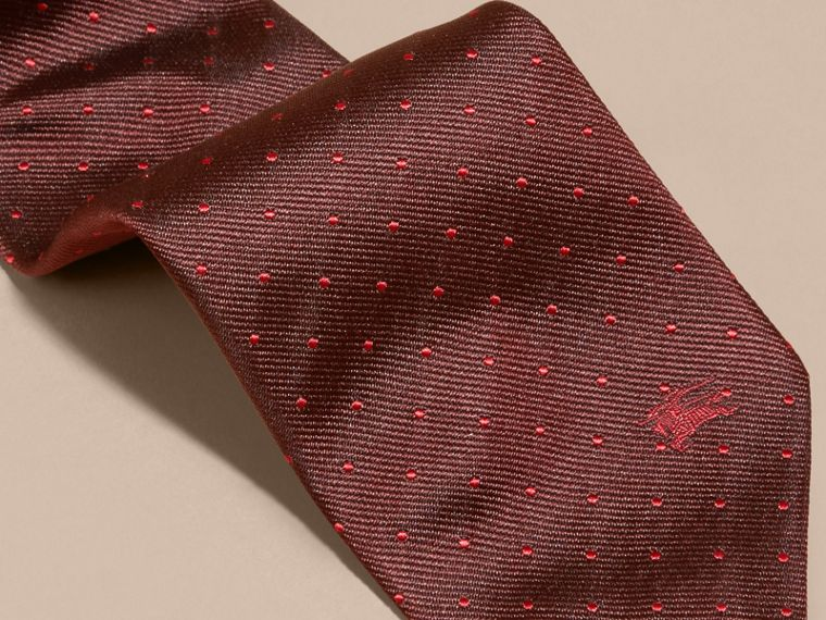 Deep claret Modern Cut Polka Dot Silk Tie - cell image 1