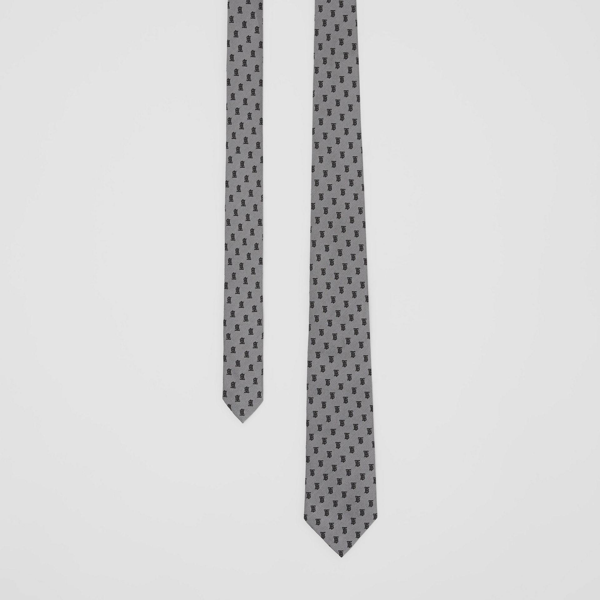 Classic Cut Monogram Silk Jacquard Tie in Mid Grey - Men | Burberry United Kingdom - gallery image 0