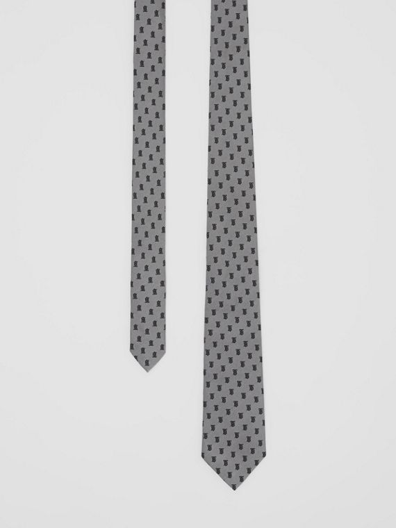Classic Cut Monogram Silk Jacquard Tie in Mid Grey