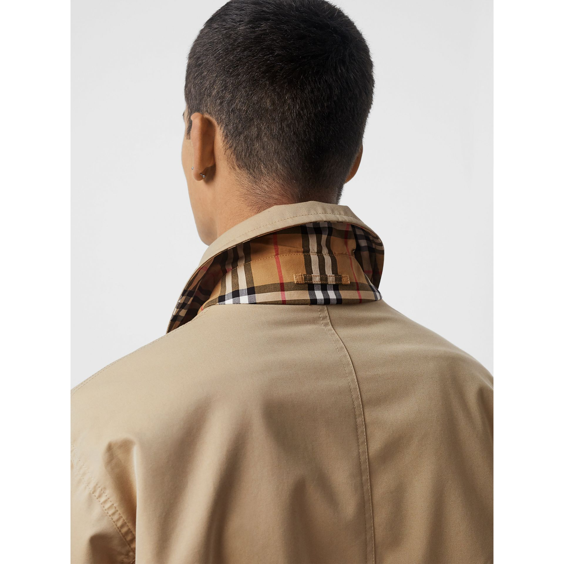 Reversible Gabardine and Check Harrington Jacket in Honey - Men | Burberry - gallery image 2