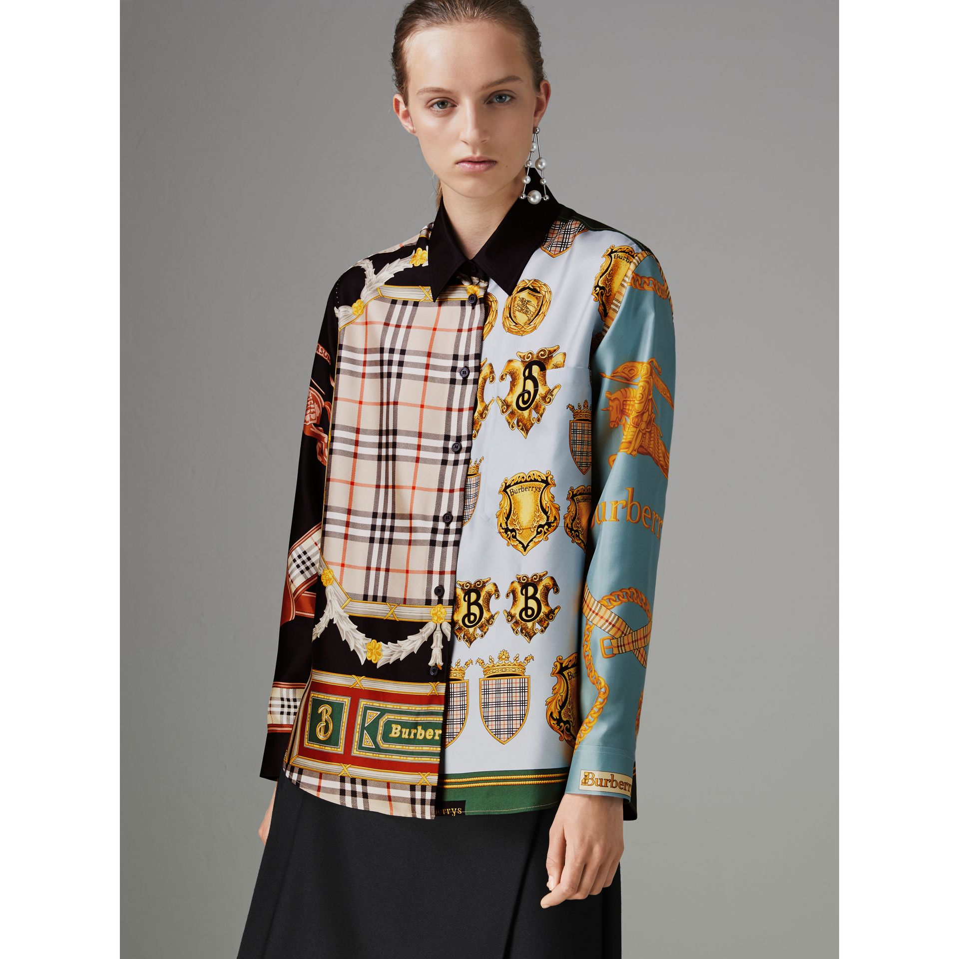 Archive Scarf Print Silk Shirt in Airforce Blue - Women | Burberry - gallery image 4