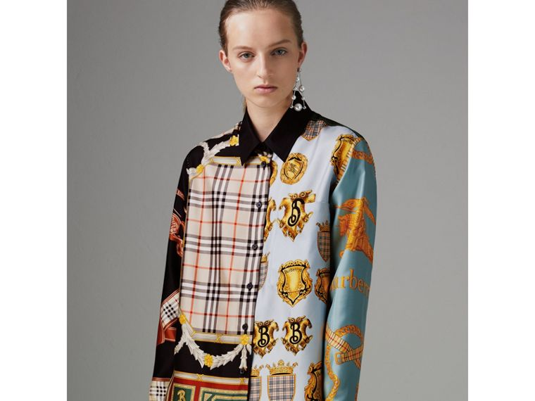 Archive Scarf Print Silk Shirt in Airforce Blue - Women | Burberry - cell image 4