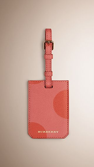 Dot Print Grainy Leather Luggage Tag