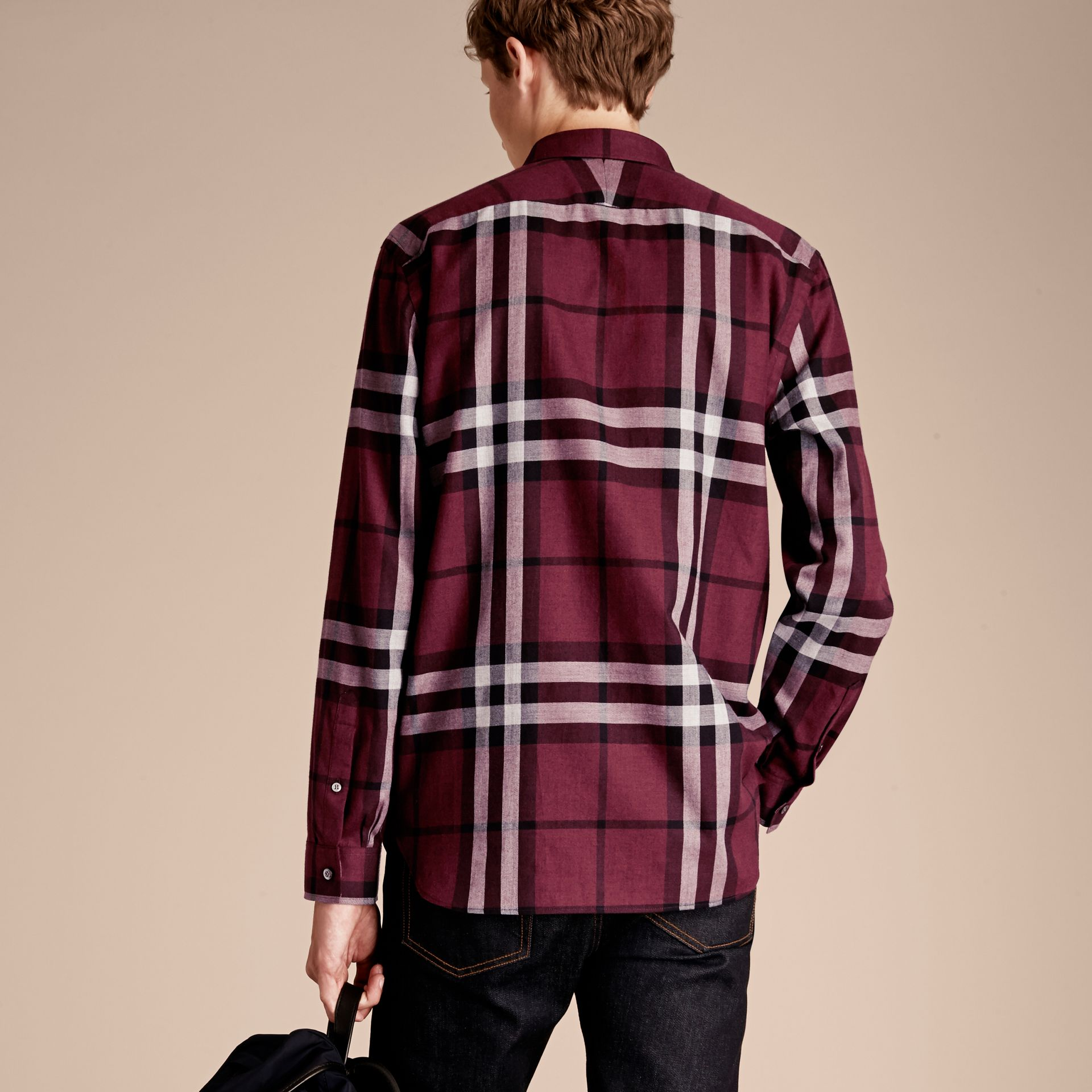 Deep claret Check Cotton Cashmere Flannel Shirt Deep Claret - gallery image 3