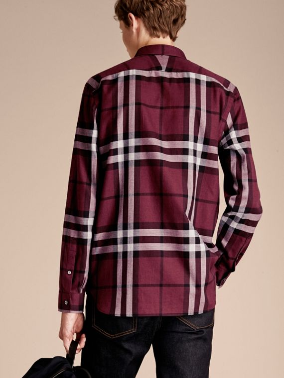 Deep claret Check Cotton Cashmere Flannel Shirt Deep Claret - cell image 2
