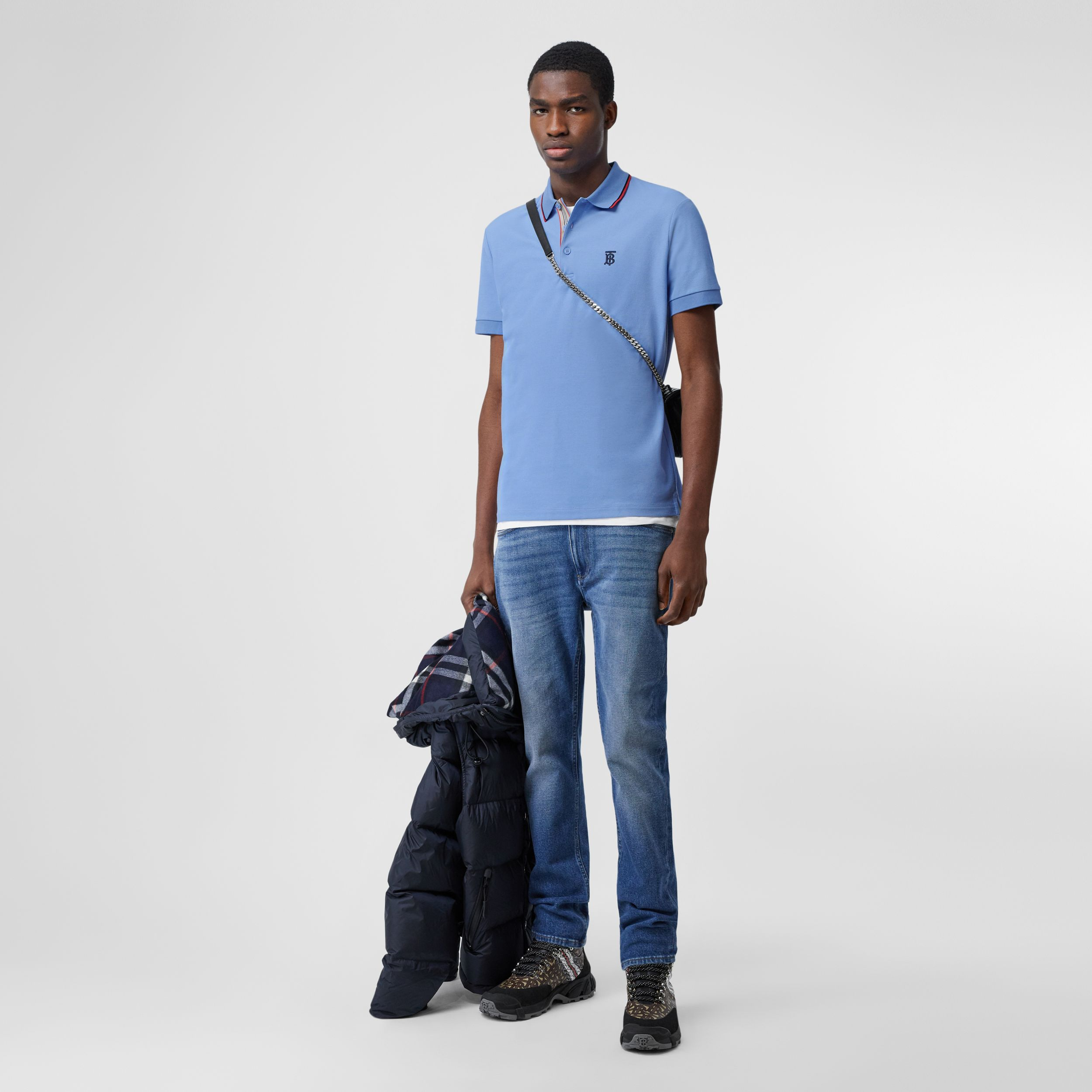 Monogram Motif Cotton Piqué Polo Shirt in Opal Blue - Men | Burberry Australia - 1