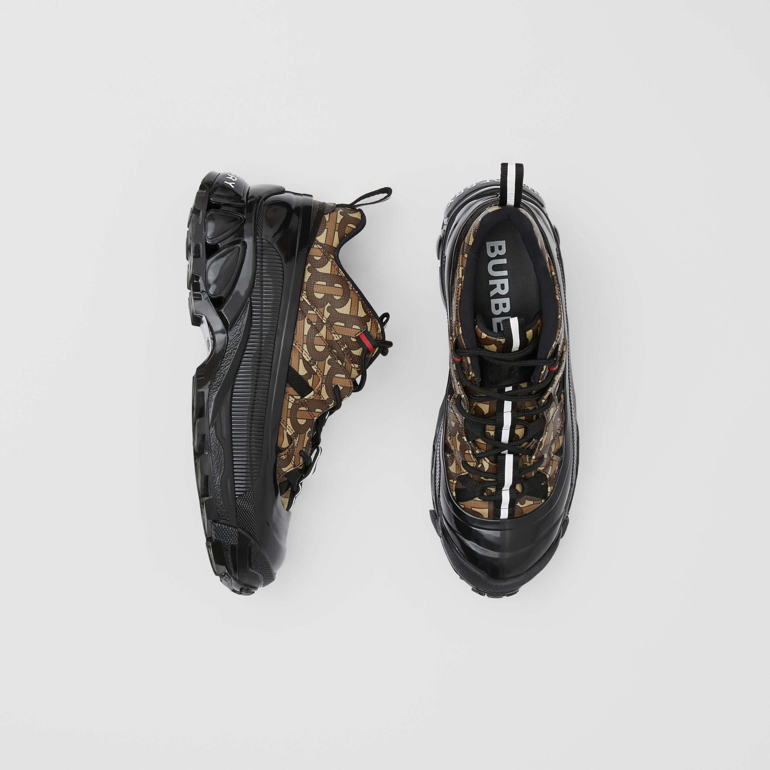 Monogram Print E-canvas Arthur Sneakers in Bridle Brown | Burberry - 1