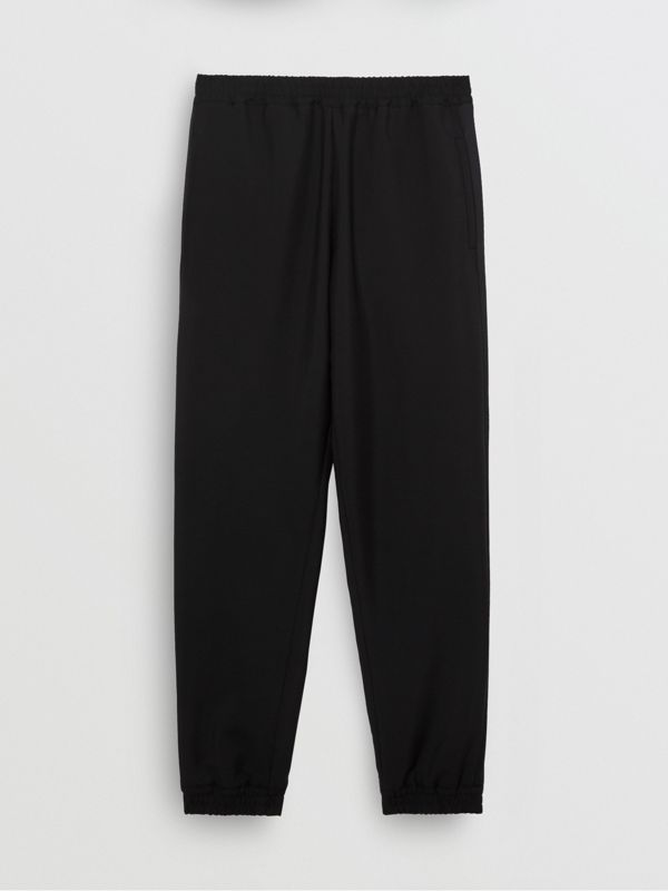 Wool Mohair Tapered Trousers in Black - Men | Burberry Singapore - cell image 3
