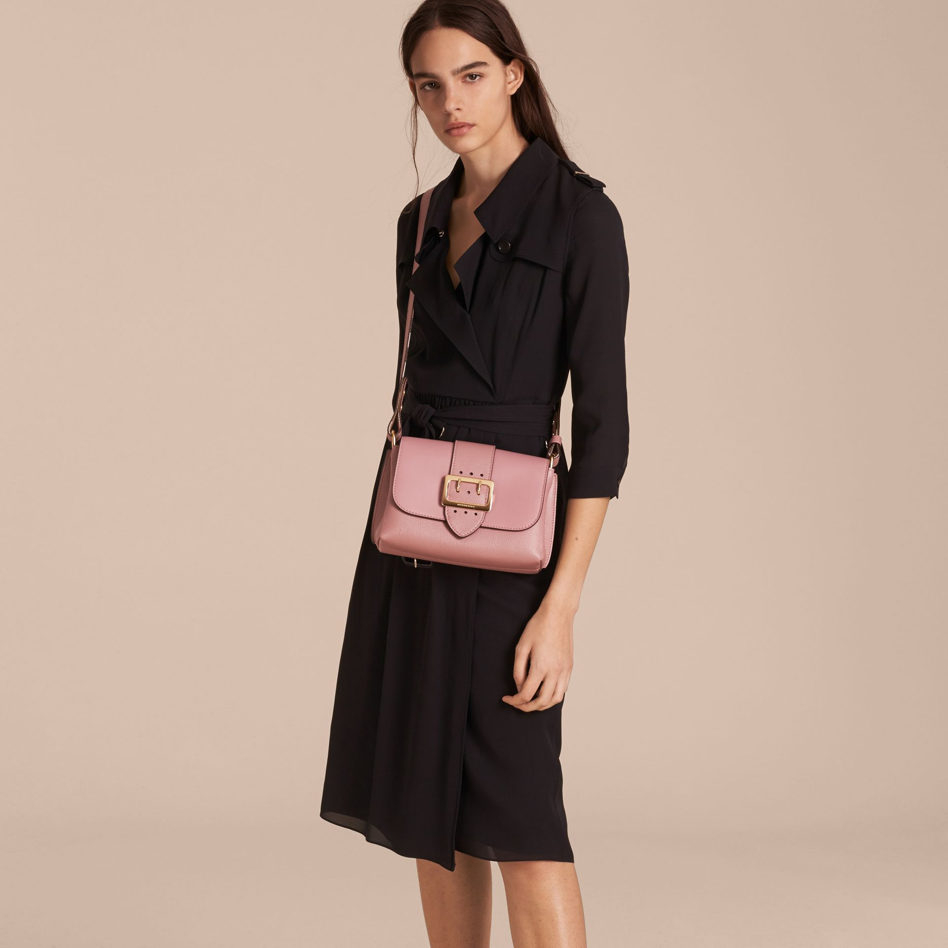 The Buckle Crossbody Bag in Leather in Dusty Pink - gallery image 3