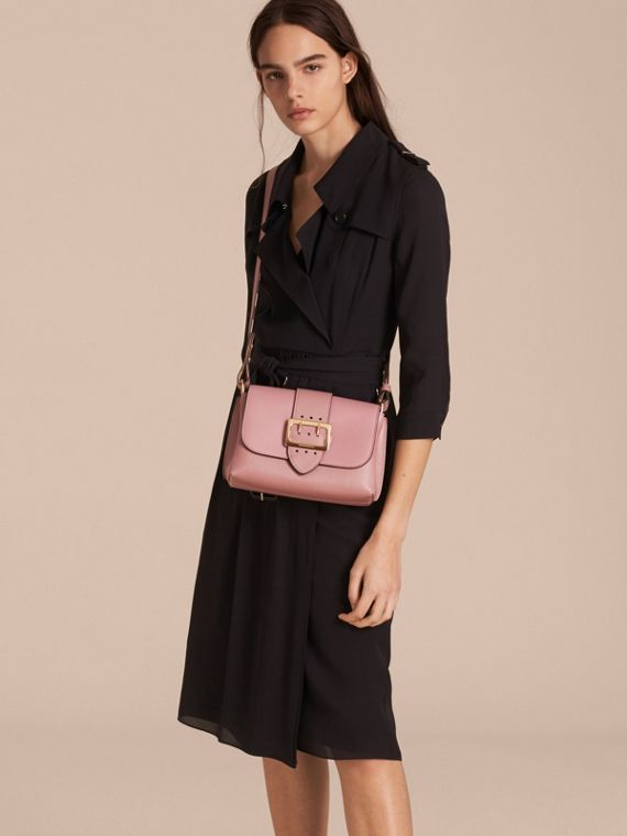 The Buckle Crossbody Bag in Leather in Dusty Pink - cell image 2