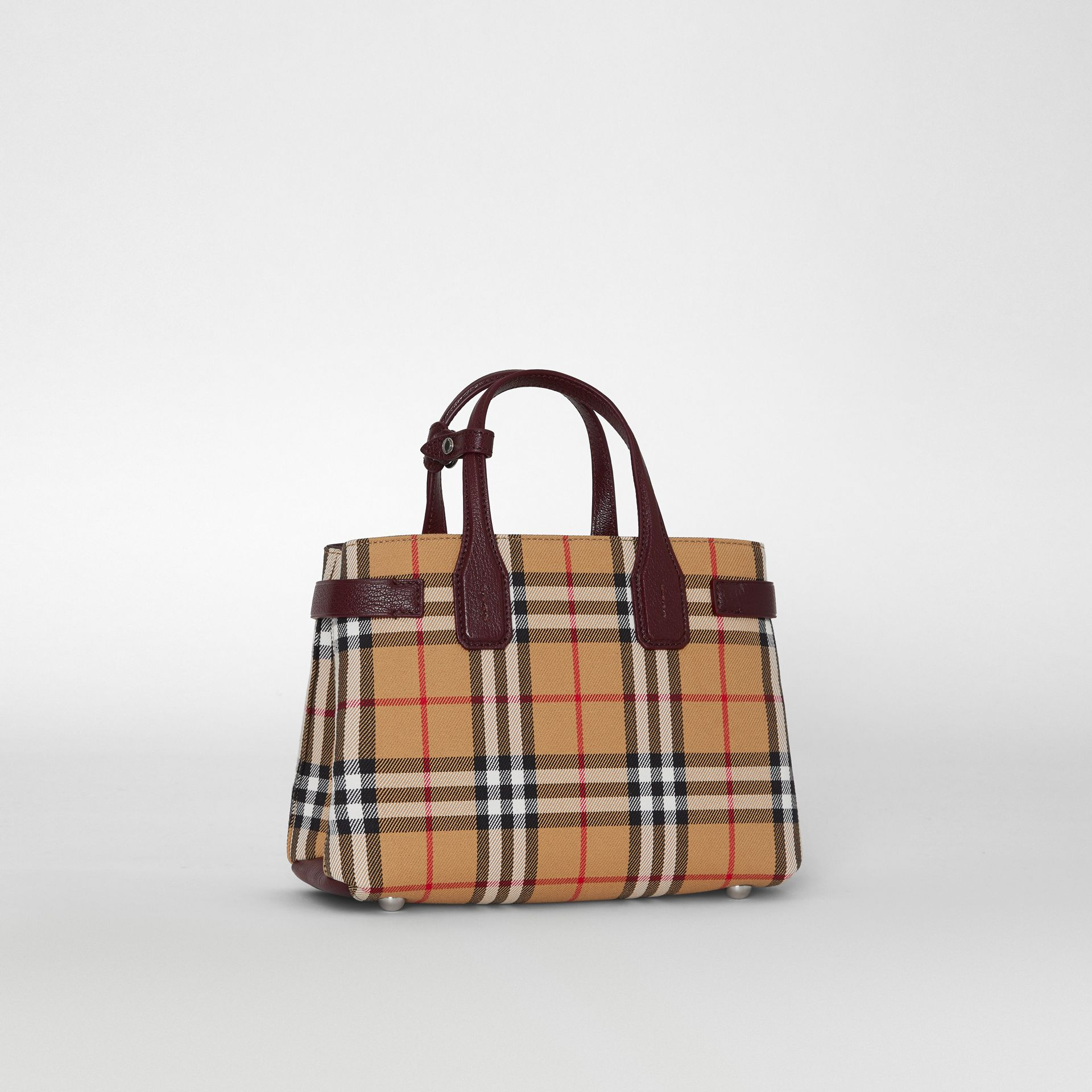 The Small Banner in Vintage Check and Leather in Deep Claret - Women | Burberry - gallery image 6