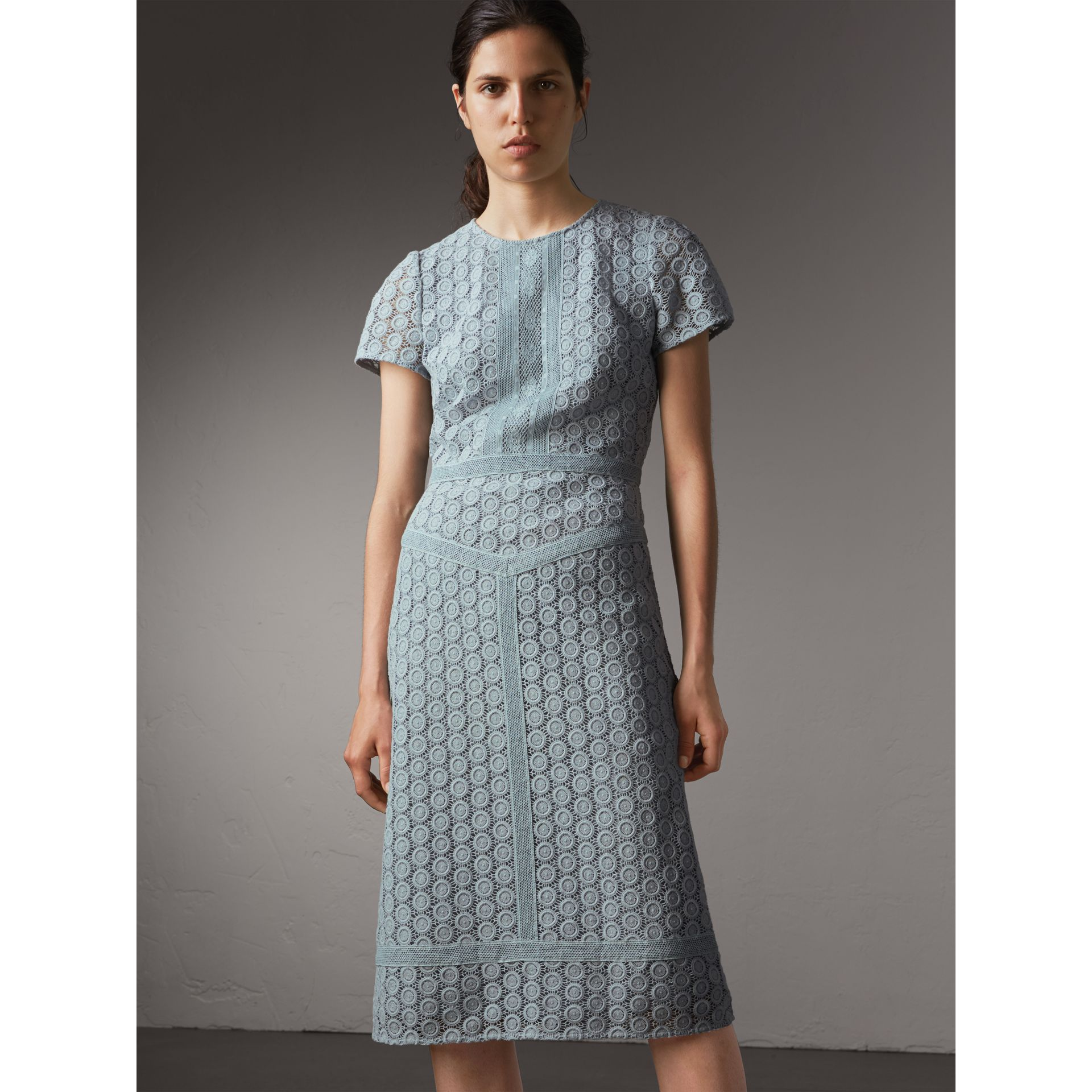 Geometric Lace Cotton Sheath Dress in Pale Slate Blue - Women | Burberry - gallery image 6